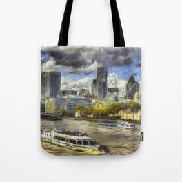 The River Thames And City Art Tote Bag