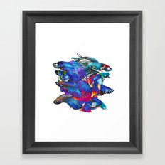 FIGHTING FISHES BETTA - Animals | Psychedelic | 70's | Abstract | Pop | Surrealism | Nature Framed Art Print