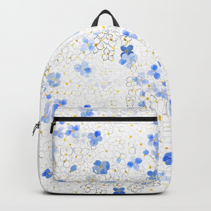 blue abstract hydrangea pattern Backpack