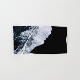 Waves crashing on a black sand beach – minimalist Landscape Photography Hand & Bath Towel