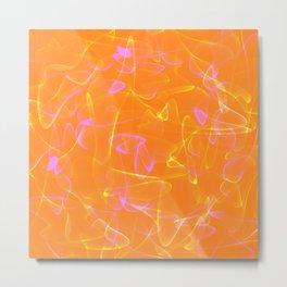 Cosmic glowing lines in orange smoky style. Metal Print