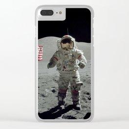 Apollo 17 - Last Man On The Moon Clear iPhone Case