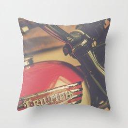 Vintage Triumph Bonneville Motorcycle Throw Pillow