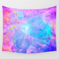 hamburger Wall Tapestries featuring Orion nebulA : Bright Pink & Aqua by 2sweet4words Designs