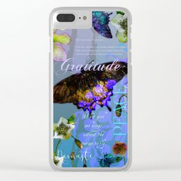Floral Butterfly Botanical Garden W/ Gratitude Inspirational Quote Clear iPhone Case