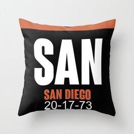 SAN San Diego Luggage Tag 3 Throw Pillow