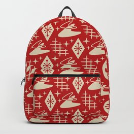 Mid Century Modern Boomerang Abstract Pattern Red and Tan 261 Backpack