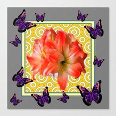 Grey Purple Butterflies Pink Amaryllis Flowers Yellow Pattern Canvas Print