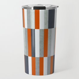 Orange, Navy Blue, Gray / Grey Stripes, Abstract Nautical Maritime Design by Travel Mug