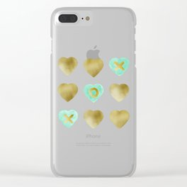Tic Tac Toe hearts - Gold and Mint palette Clear iPhone Case
