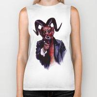satan Biker Tanks featuring Uncle Satan by Zombie Rust