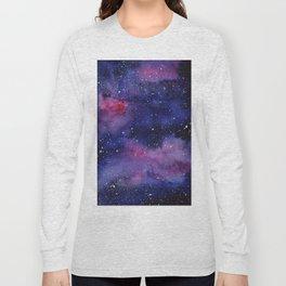 Watercolor Galaxy Nebula Pink Purple Sky Stars Long Sleeve T-shirt