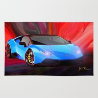 lamborghini Area & Throw Rugs featuring Lamborghini Huracán by JT Digital Art