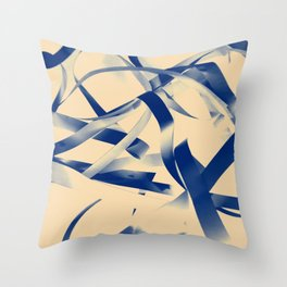 Blue paper stripes Throw Pillow