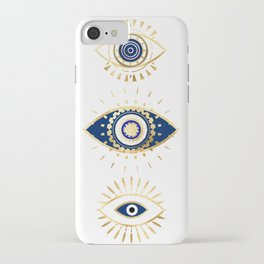 evil eye times 3 navy on white iPhone Case