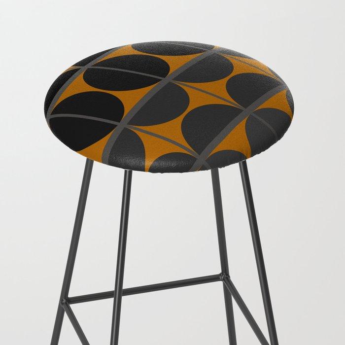 Black and Gray Gradient with Gold Squares and Half Circles Digital Illustration - Artwork Bar Stool