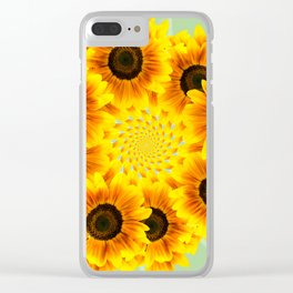 Spinning Sunflowers Clear iPhone Case
