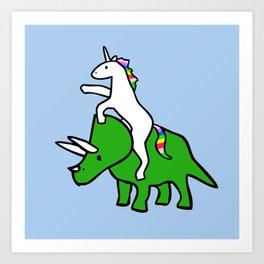 Unicorn Riding Triceratops Art Print