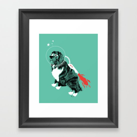 A Flying Dog In Outer Space Framed Art Print
