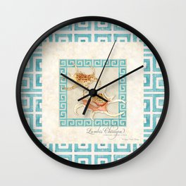 Spider Conch, Lambis Chiragra Modern Ocean Shell Beach Striped Wall Clock