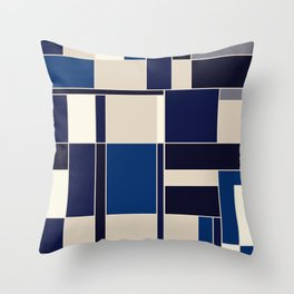 Blue abstract city Throw Pillow
