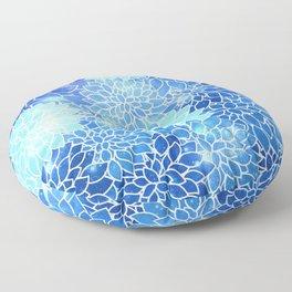 Space Dahlias Sky Blue Floor Pillow