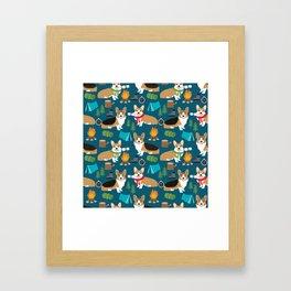 Corgi camping marshmallow roasting corgis outdoors nature dog lovers Framed Art Print