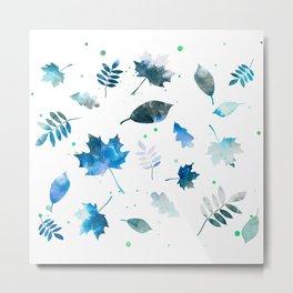 OCEAN BLUE LEAF PATTERN Metal Print