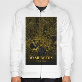 Washington DC City Map   Gold American City Street Map   United States Cities Maps Hoody