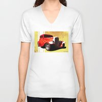 ford V-neck T-shirts featuring Flames Ford by D. H. Carter