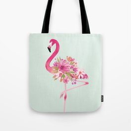 Flamingo with flowers Tote Bag