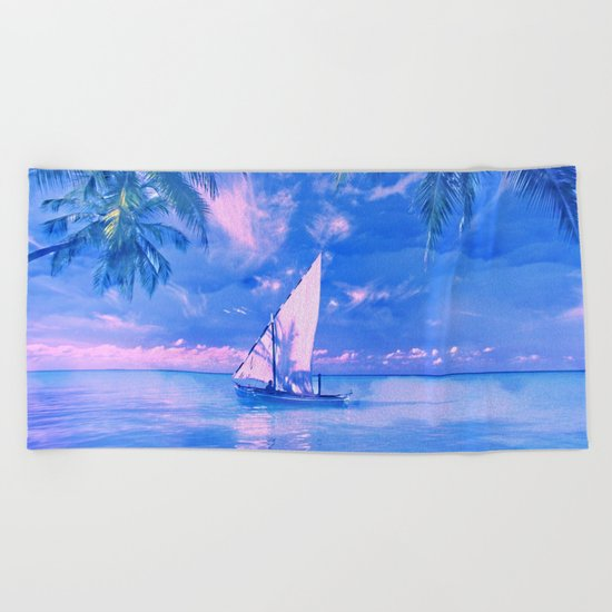 Tropical yachting Beach Towel