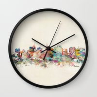 wisconsin Wall Clocks featuring madison wisconsin by bri.buckley