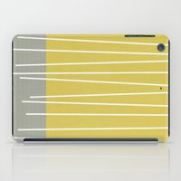 mid century modern iPad Cases featuring MId century modern textured stripes by Michelle Drew
