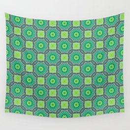Octagon Kaleidoscope Flower in Green Turquoise and Gray Wall Tapestry