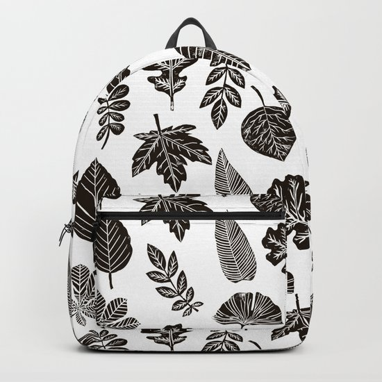 Linocut leaves fall autumn black and white home decor seasonal patterns Backpack