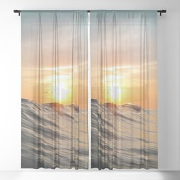 Sunset in Paradise Sheer Curtain
