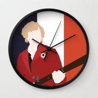 enjolras Wall Clocks featuring ENJOLRAS – LES MISÉRABLES by K. Frank