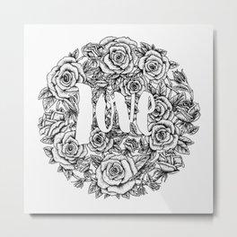 Love - Roses Illustration Metal Print