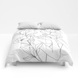 Minimal Line Art Woman with Peonies Comforters