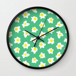 Eggs Over Green Wall Clock