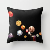 greg guillemin Throw Pillows featuring Lanterns - Greg Katz by Artlala for MSF Doctors Without Borders