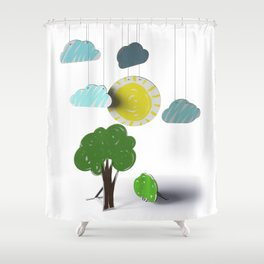 Sunny Day 3D Paper Craft Shower Curtain