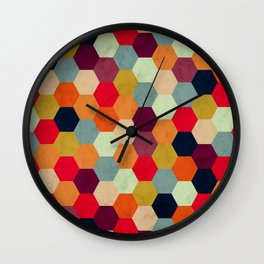 Colorful Beehive Pattern Wall Clock