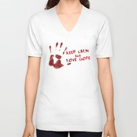 gore V-neck T-shirts featuring Love Gore by Victor Rodriguez