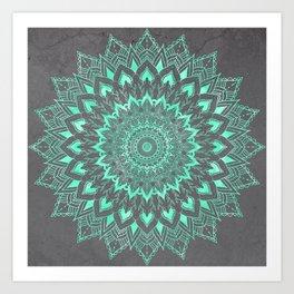 Boho turquoise watercolor floral mandala on grey cement concrete Art Print