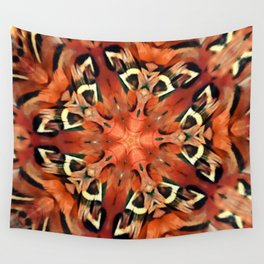 Mango Pheasant Feather Kaleidoscope Mandala  Wall Tapestry
