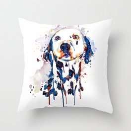 Dalmatian Head Watercolor Portrait Throw Pillow