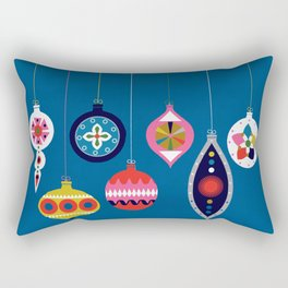 Retro Christmas Baubles on a dark background Rectangular Pillow
