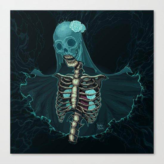 Skeleton with veil and white roses Canvas Print